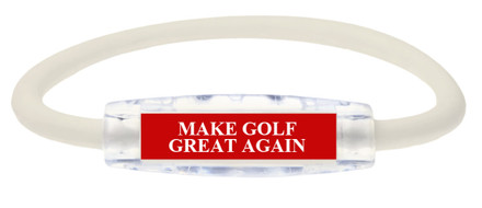 """MAKE GOLF GREAT AGAIN"" Sport Bracelet contains negative ions and magnets (Front view)"