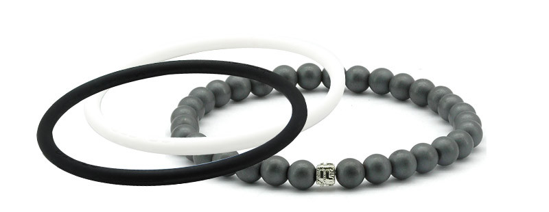mag/fusion +Plus Jet Black + White Pearl 1 mag/fusion PLUS magnetic Bracelet, 2 IonThins  (Jet Black + White Pearl)