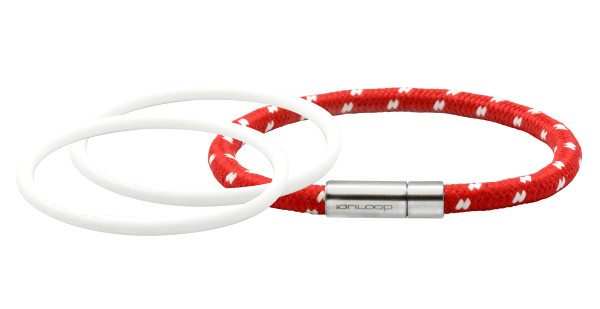 Solo Cord  Apple Red Negative Ion Bracelet Pak Pearl White & Pearl White  IonThins
