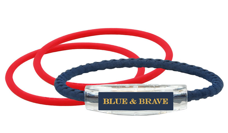 Blue & Brave Bracelet (front) With 2 Ruby Red IonThins