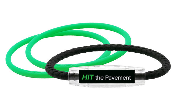 Hit The Pavement Bracelet (front) With 2 Apple Green IonThins