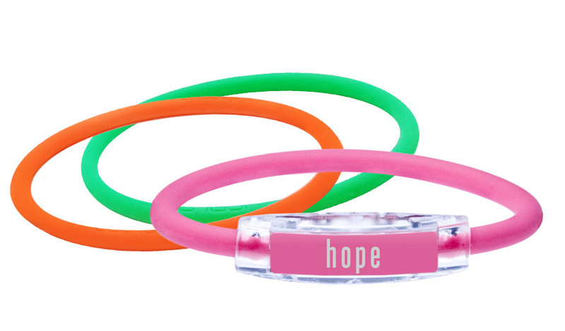 Pink Hope Bracelet (front) With Pink & Apple Green IonThins