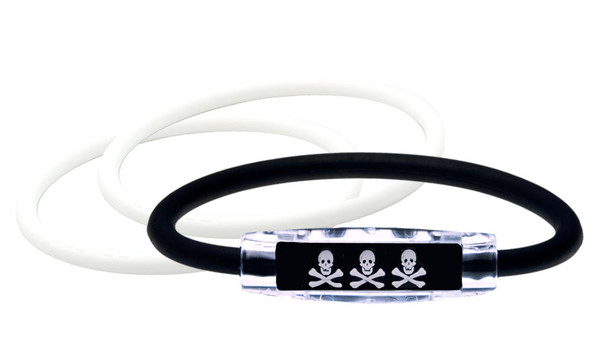 Skull & Crossbones Bracelet (front) With 2 White IonThins