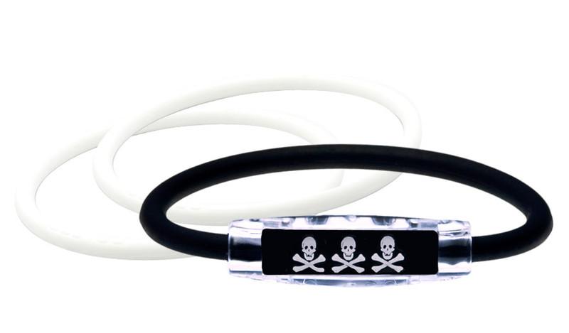 Skull & Crossbones Bracelet (front) With 2 White IonThins