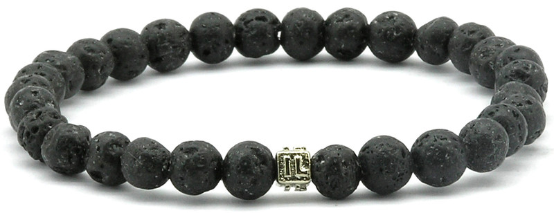 IonLoop  Lava Stone Bracelet contains medium sized molten rock beads. (front view)