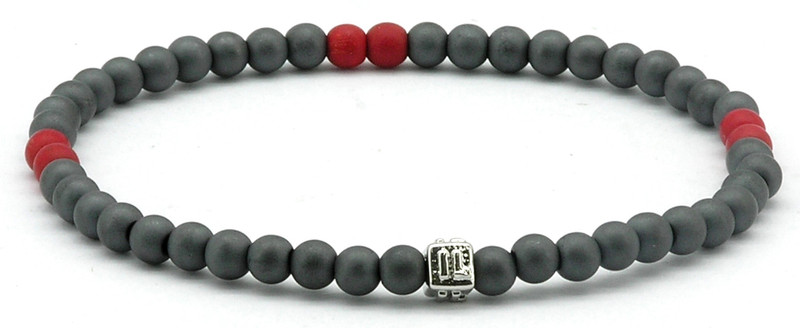 IonLoop  mag/fusion COLOR  RED Bracelet contains slate gray magnetic pearls and 6 decorative stones.  (front view)