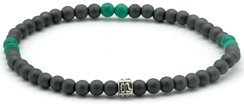 IonLoop  mag/fusion TEAL SMOKE Bracelet contains slate gray magnetic pearls and 6 decorative stones.  (front view)