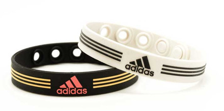 White & Black adidas Adjustable Bracelet - front