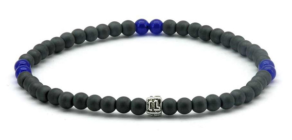 IonLoop  mag/fusion BLUE Bracelet contains slate gray magnetic pearls and 6 decorative stones.  (front view)