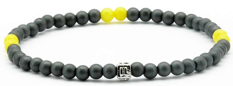 IonLoop  mag/fusion COLOR  YELLOW  Bracelet contains slate gray magnetic pearls and 6 decorative stones.  (front view)
