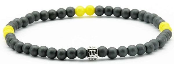 IonLoop  mag/fusion  YELLOW  Bracelet contains slate gray magnetic pearls and 6 decorative stones.  (front view)