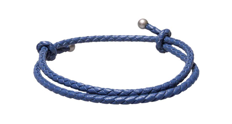 Blue Slide Knot Leather Braided Bracelet - Back
