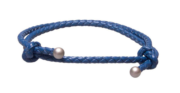 Blue Slide Knot Leather Braided Bracelet - Front