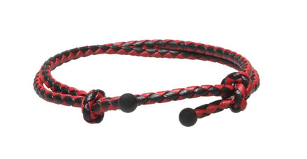 Red & Black Slide Knot Leather Braided Bracelet - Front