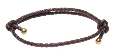 Saddle Brown Slide Knot Leather Braided Bracelet - Front