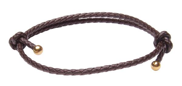 Saddle Brown Slide Knot Leather Braided Bracelet - Front