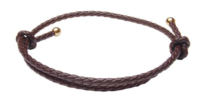 Saddle Brown Slide Knot Leather Braided Bracelet - Back