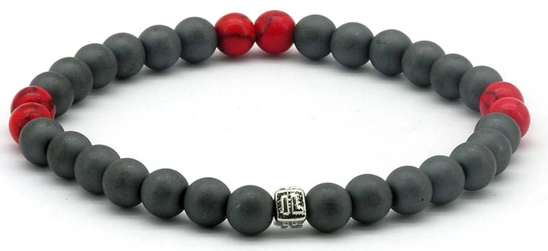 IonLoop  mag/fusion +Plus COLOR - Bracelet contains medium sized slate gray magnetic pearls with Smoke Red stones. (front view)