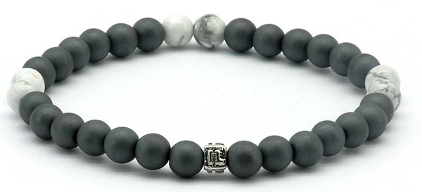 IonLoop  mag/fusion +Plus COLOR - Bracelet contains medium sized slate gray magnetic pearls with White Red stones. (front view)