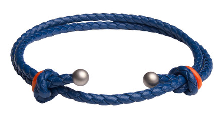 Blue Slide Knot w/Orange Dash Leather Braided Bracelet - Front