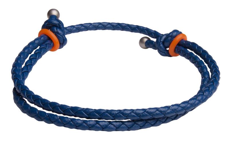 Blue Slide Knot w/Orange Dash Leather Braided Bracelet - Back