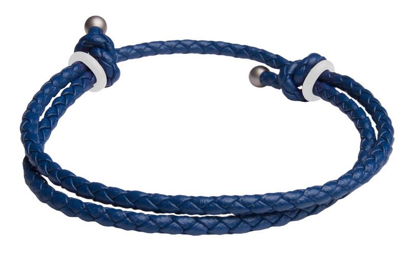 Blue Slide Knot w/White Dash Leather Braided Bracelet - Back