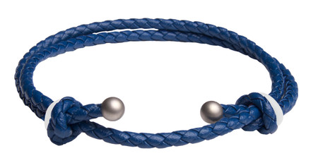 Blue Slide Knot w/White Dash Leather Braided Bracelet - Front