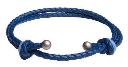 Blue Slide Knot w/Lt. Blue Dash Leather Braided Bracelet - Front