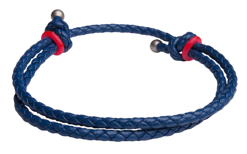Blue Slide Knot w/Red Dash Leather Braided Bracelet - Back