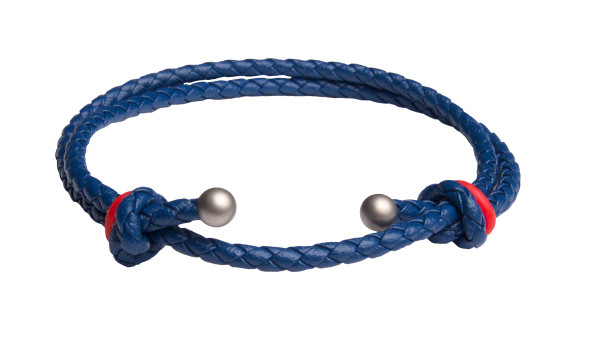 Blue Slide Knot w/Red Dash Leather Braided Bracelet - Front