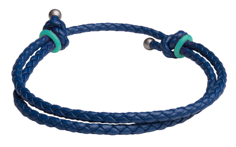 Blue Slide Knot w/Turquoise Dash Leather Braided Bracelet - Back