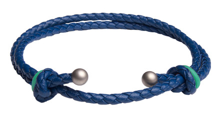 Blue Slide Knot w/Turquoise Dash Leather Braided Bracelet - Front