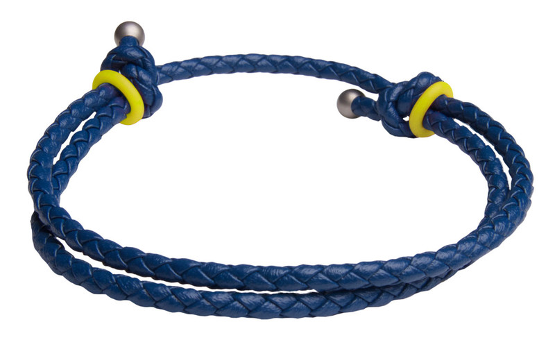 Blue Slide Knot w/Yellow Dash Leather Braided Bracelet - Back