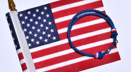 4TH of July Special  Patriotic Blue Slide Knot w/Red, White, Blue Dash Leather Braided Bracelet - Front