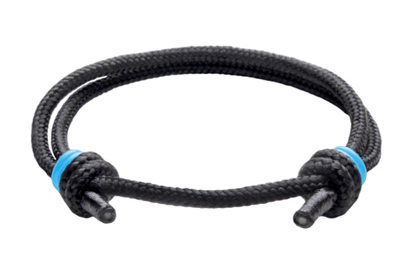 NEW   Spider Black Cord Slide Knot w/Light Blue Dash Bracelet - Front