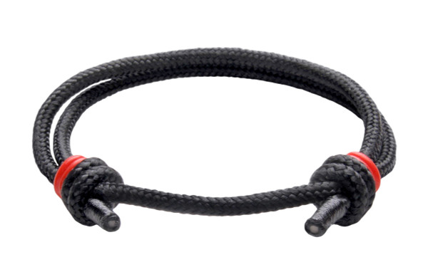 NEW   Spider Black Cord Slide Knot w/Red Dash Bracelet - Front