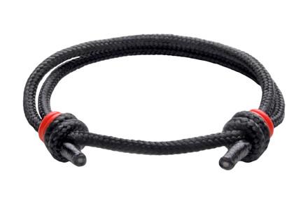 NEW   Spider Black Cord Slide Knot w/Red Dash Bracelet - Front