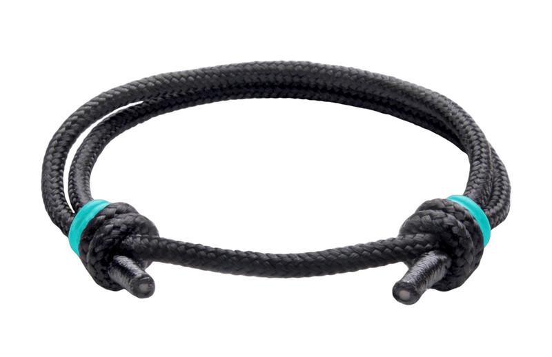 NEW   Spider Black Cord Slide Knot w/Teal Dash Bracelet - Front