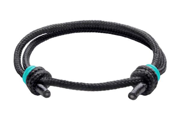 NEW   Spider Black Cord Slide Knot w/Teal Dash Bracelet - Front