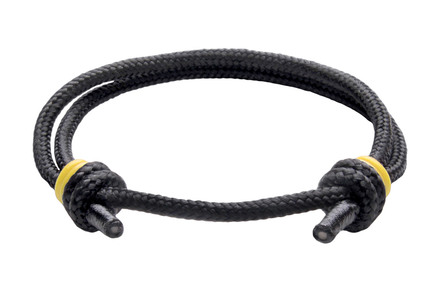 NEW   Spider Black Cord Slide Knot w/Yellow Dash Bracelet - Front