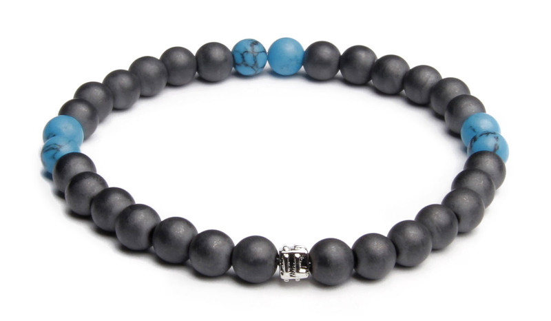 IonLoop  mag/fusion +Plus COLOR - Bracelet contains medium sized slate gray magnetic pearls with Surf Blue stones. (front view)