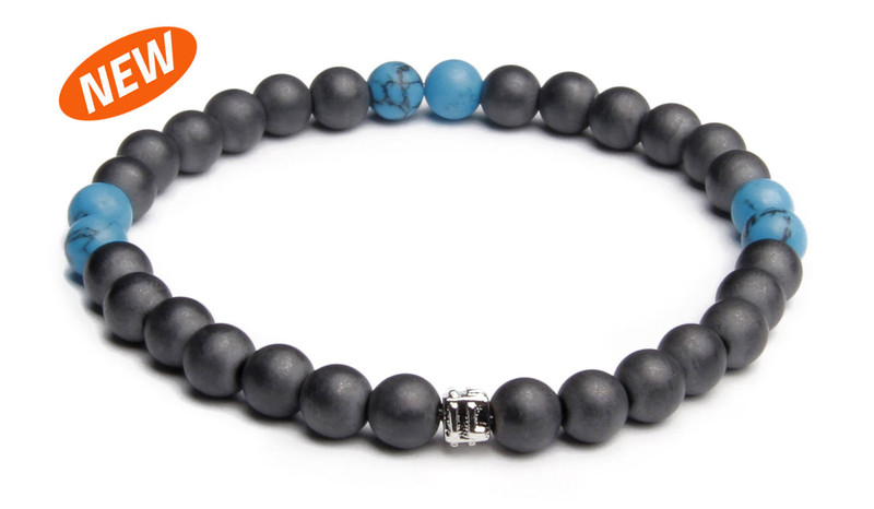 NEW   - IonLoop  mag/fusion +Plus COLOR - Bracelet contains medium sized slate gray magnetic pearls with Surf Blue stones. (front view)