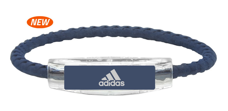 adidas Navy Blue Braided Bracelet (front view)