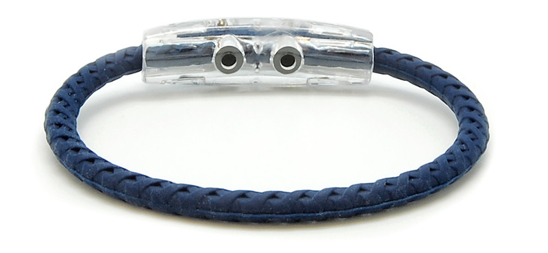 adidas  Original Navy Blue Braided Bracelet with Green logo (back view)