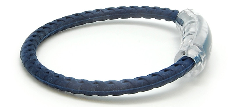 adidas  Original Navy Blue Braided Bracelet with Green logo (side view)