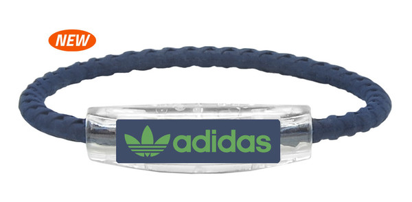 adidas  Original Navy Blue Braided Bracelet with Green logo (front view)