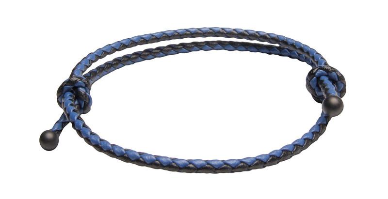 Black & Blu Slide Knot Leather Braided Bracelet - Front