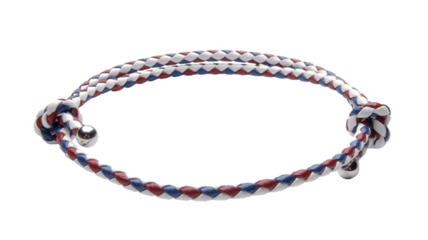 NEW- USA White, Red & Blue Slide Knot Leather Braided Bracelet - Front