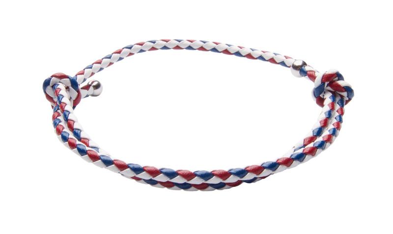 NEW- USA White, Red & Blue Slide Knot Leather Braided Bracelet - Back