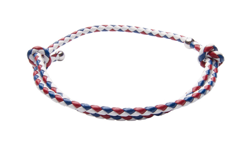 NEW- USA White, Red & Blue Slide Knot Leather Braided Bracelet - Back